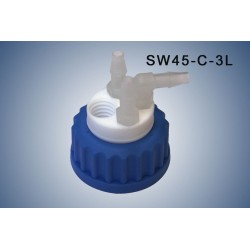 Smart Waste caps GL45 with 1 charcoal cartridge filter emplacement and 3 tube fittings (6-9 mm)