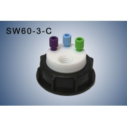"Smart Waste caps  S60 with 1 charcoal cartridge filter emplacement , 3 entries (1/8"" or 1/16"")"