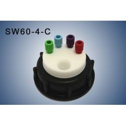 "Smart Waste caps  S60 with 1 charcoal cartridge filter emplacement , 4 entries (1/8"" or 1/16"")"