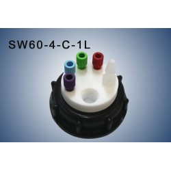 "Smart Waste caps  S60 with 1 charcoal cartridge filter emplacement , 4 entries (1/8"" or 1/16"") and  1 tube fitting (6-9 mm)"