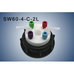 "Smart Waste caps  S60 with 1 charcoal cartridge filter emplacement , 4 entries (1/8"" or 1/16"") and  2 tube fittings (6-9 mm)"