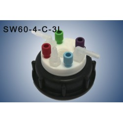 "Smart Waste caps  S60 with 1 charcoal cartridge filter emplacement , 4 entries (1/8"" or 1/16"") and  3 tube fittings (6-9 mm)"