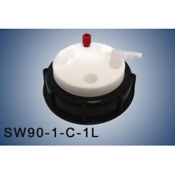 """Smart Waste caps  S90 with 1 charcoal cartridge filter emplacement , 1 entry  (1/8"""" or 1/16"""") and 1 tube fitting (6-9 mm)"""