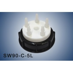 Smart Waste caps  S90 with 1 charcoal cartridge filter emplacement ,  5 tube fittings (6-9 mm)