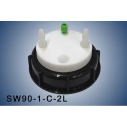 """Smart Waste caps  S90 with 1 charcoal cartridge filter emplacement , 1 entry  (1/8"""" or 1/16"""") and 2 tube fittings (6-9 mm)"""