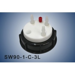 """Smart Waste caps  S90 with 1 charcoal cartridge filter emplacement , 1 entry  (1/8"""" or 1/16"""") and 3 tube fittings (6-9 mm)"""