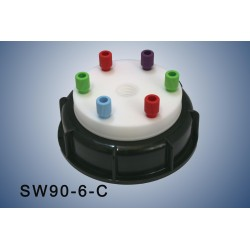 """Smart Waste caps  S90 with 1 charcoal cartridge filter emplacement , 6 entries (1/8"""" or 1/16"""")"""