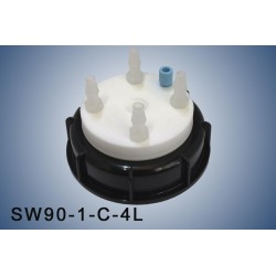 """Smart Waste caps  S90 with 1 charcoal cartridge filter emplacement , 1 entry  (1/8"""" or 1/16"""") and 4 tube fittings (6-9 mm)"""