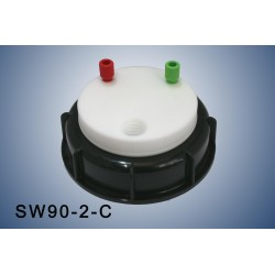 """Smart Waste caps  S90 with 1 charcoal cartridge filter emplacement , 2 entries (1/8"""" or 1/16"""")"""