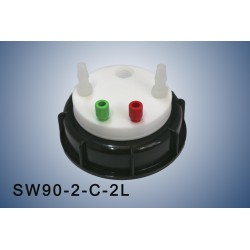 """Smart Waste caps  S90 with 1 charcoal cartridge filter emplacement , 2 entries (1/8"""" or 1/16"""") and 2 tube fittings (6-9 mm)"""