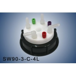"""Smart Waste caps  S90 with 1 charcoal cartridge filter emplacement , 3 entries (1/8"""" or 1/16"""") and  4 tube fittings (6-9 mm)"""