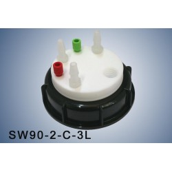 """Smart Waste caps  S90 with 1 charcoal cartridge filter emplacement , 2 entries (1/8"""" or 1/16"""") and 3 tube fittings (6-9 mm)"""
