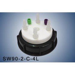 """Smart Waste caps  S90 with 1 charcoal cartridge filter emplacement , 2 entries (1/8"""" or 1/16"""") and  4 tube fittings (6-9 mm)"""