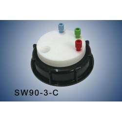 """Smart Waste caps  S90 with 1 charcoal cartridge filter emplacement , 3 entries (1/8"""" or 1/16"""")"""