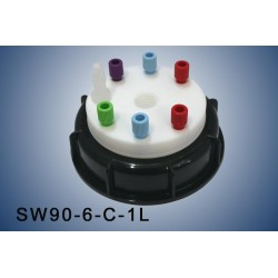 """Smart Waste caps  S90 with 1 charcoal cartridge filter emplacement , 6 entries (1/8"""" or 1/16"""") and 1 tube fitting (6-9 mm)"""