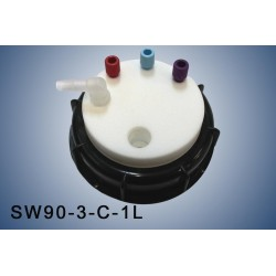 """Smart Waste caps  S90 with 1 charcoal cartridge filter emplacement , 3 entries (1/8"""" or 1/16"""") and 1 tube fitting (6-9 mm)"""