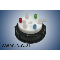 """Smart Waste caps  S90 with 1 charcoal cartridge filter emplacement , 3 entries (1/8"""" or 1/16"""") and 3 tube fittings (6-9 mm)"""