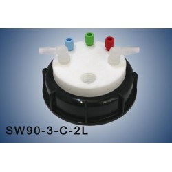 """Smart Waste caps  S90 with 1 charcoal cartridge filter emplacement , 3 entries (1/8"""" or 1/16"""")and 2 tube fittings (6-9 mm)"""
