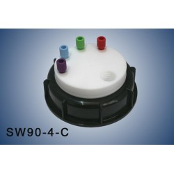 """Smart Waste caps  S90 with 1 charcoal cartridge filter emplacement , 4 entries (1/8"""" or 1/16"""")"""
