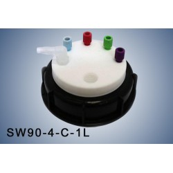 """Smart Waste caps  S90 with 1 charcoal cartridge filter emplacement , 4 entries (1/8"""" or 1/16"""") and  1 tube fitting (6-9 mm)"""
