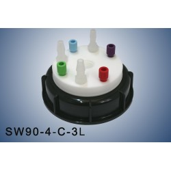 """Smart Waste caps  S90 with 1 charcoal cartridge filter emplacement , 4 entries (1/8"""" or 1/16"""") and 3 tube fittings (6-9 mm)"""