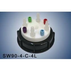 """Smart Waste caps  S90 with 1 charcoal cartridge filter emplacement , 4 entries (1/8"""" or 1/16"""") and 4 tube fittings (6-9 mm)"""