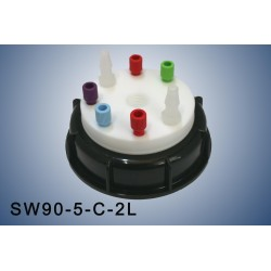 """Smart Waste caps  S90 with 1 charcoal cartridge filter emplacement , 5 entries (1/8"""" or 1/16"""") and 2 tube fittings (6-9 mm)"""