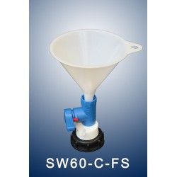 Smart waste caps  funnel with stopcock with a charcoal cartridge filter emplacement for S60/61 thread can